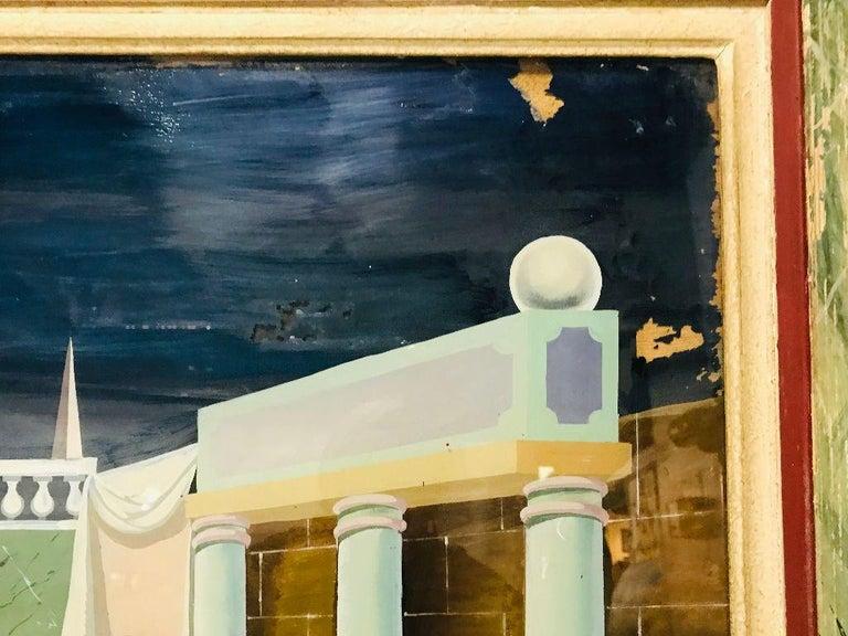Fernand Renard Reverse Painting on Glass, 1939 Paris Surreal Trompe L'oeil For Sale 2