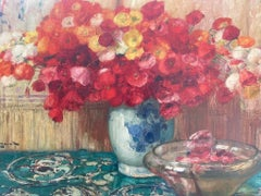 Still Life of Poppies in a Blue and White Vase, impressionist, oil on canvas