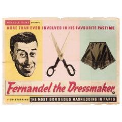 """""""Fernandel the Dressmaker"""" 1956 British Quad Film Poster"""