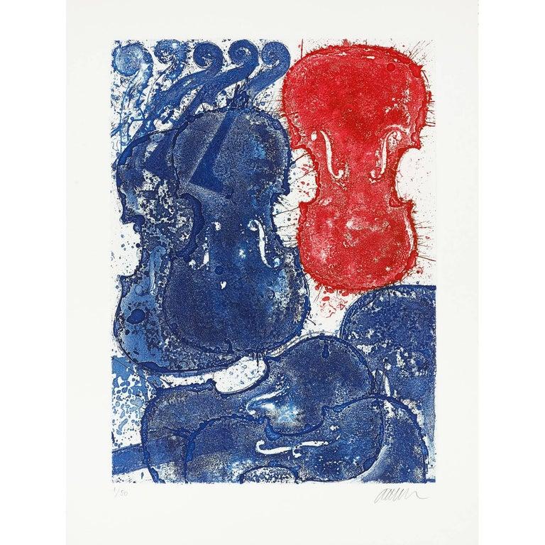Fernandez Arman Figurative Print - Rouge et bleu