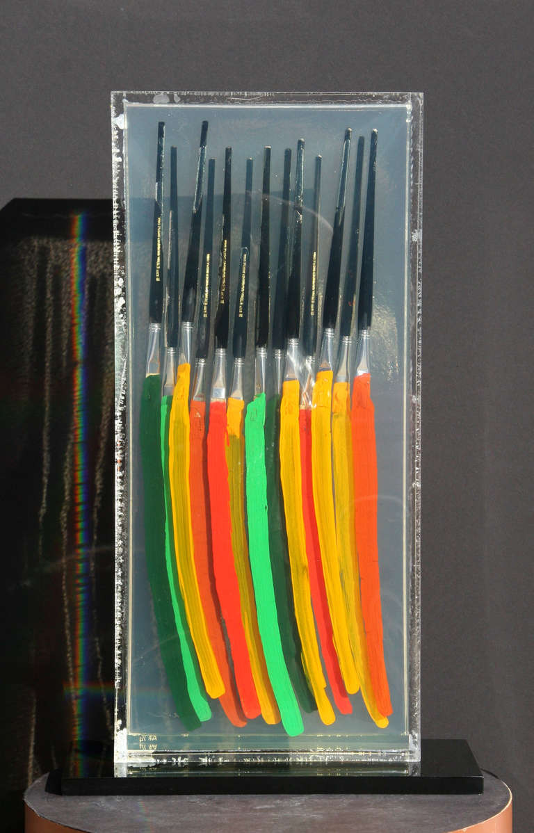 Paintbrushes (Orange Red and Green) IV - Conceptual Sculpture by Fernandez Arman