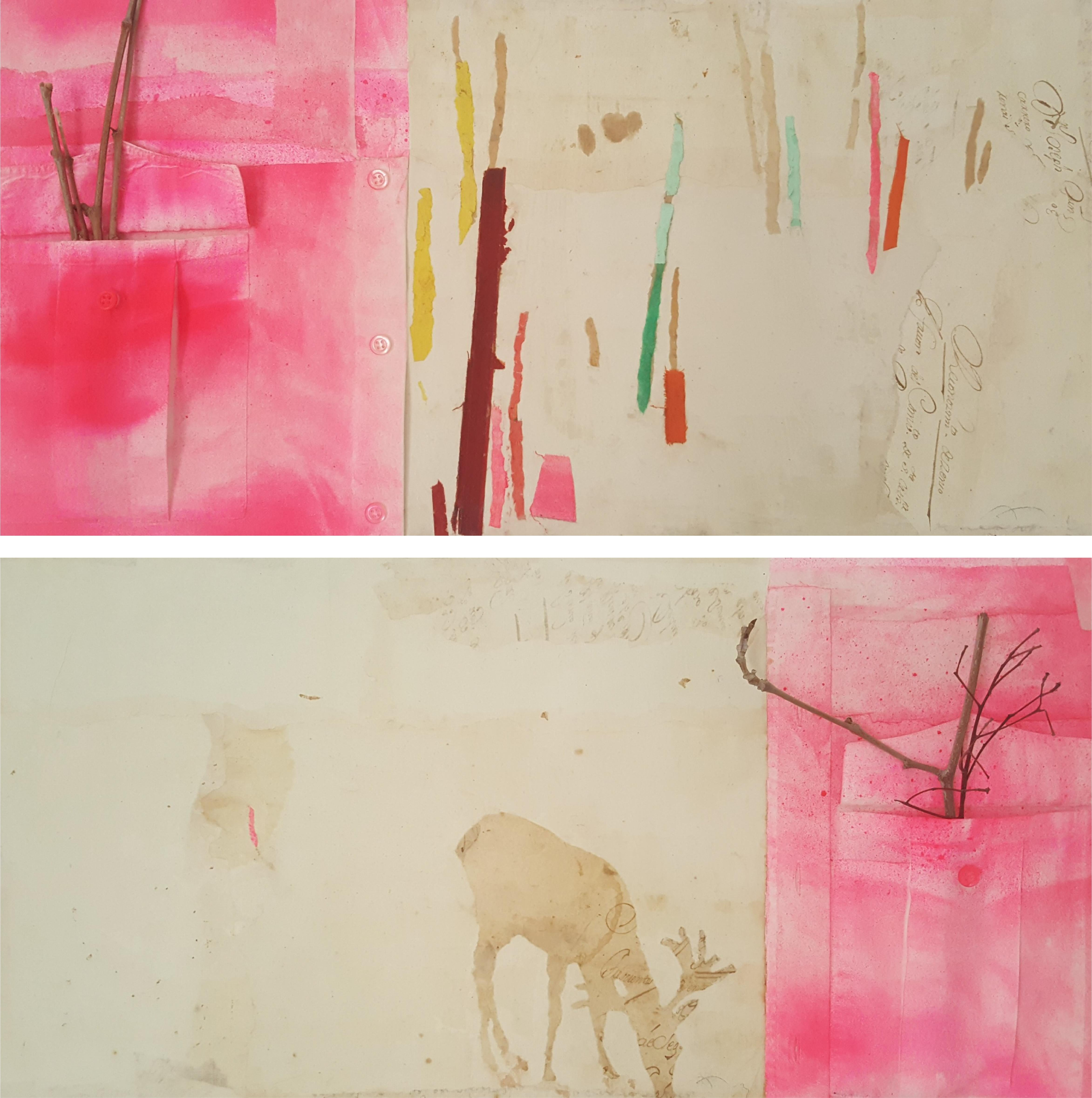 Buxaca I & II - 21st Century, Contemporary, Old Paper, Medieval Ink, Collage