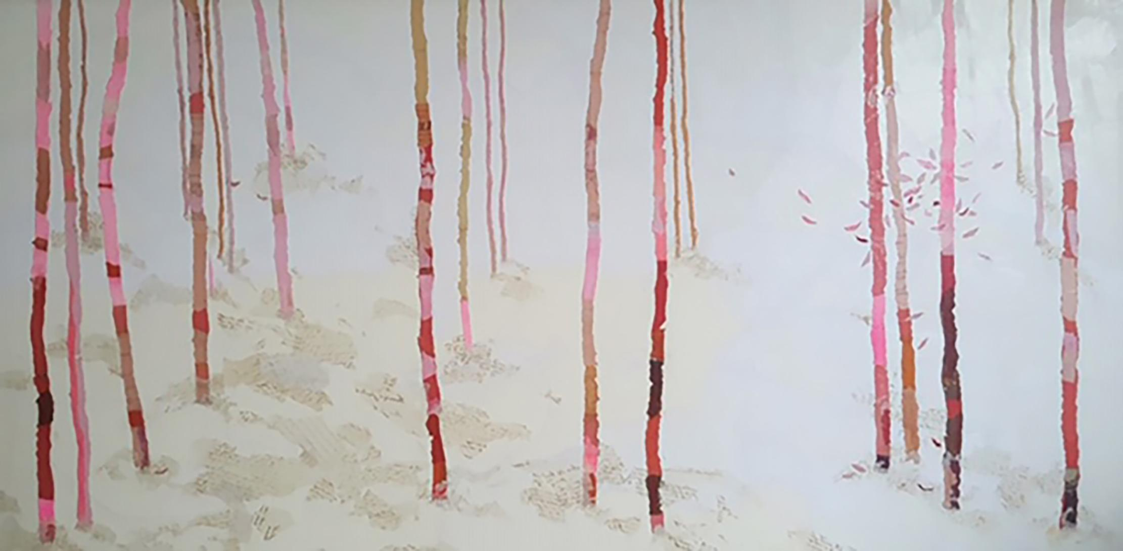 Ephemeral - 21st Century, Contemporary, Old Paper, Medieval Ink, Collage, Forest