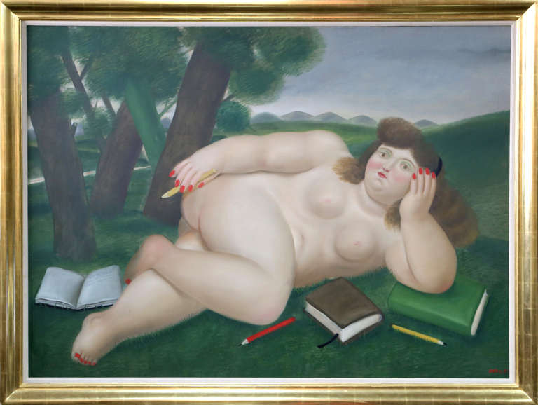 Fernando Botero Nude Painting - Reclining Nude with Books and Pencils on Lawn