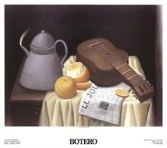 1991 Fernando Botero 'Still Life with Newspaper' Contemporary Multicolor,Brown
