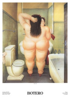 1991 Fernando Botero 'The Bath (Il Bano)' Contemporary Brown,White,Yellow Italy