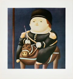 "Fernando Botero-St Georg-21.5"" x 19.75""-Poster-Contemporary-Multicolor, Black"