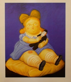 "Fernando Botero - ""The Doll"" - unique lithograph including passe-partout"