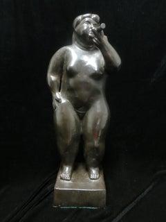 Woman Smoking a Cigarette, Bronze, After Fernando Botero