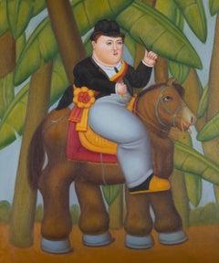 After Fernando Botero (b. 1932) - Contemporary Oil, The President