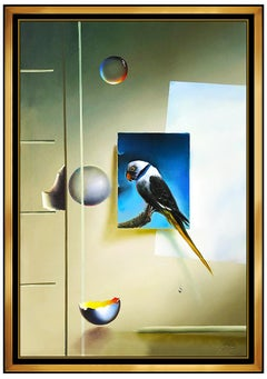 FERJO Large Original Painting Oil On Canvas Signed Surreal Still Life Egg Bubble