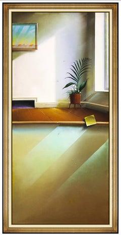 FERJO Original Surreal Interior Painting Oil On Canvas Large Signed Modern Art