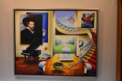 Room with Grand Master - Original oil on canvas painting by Ferjo