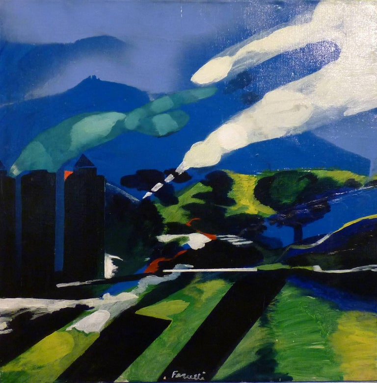 Blue, heavenly, abstract landscape Fernando FARULLI (Florence, 1923 - 1997)  1948: Young Artists Salon, Paris 1952: International Art Biennale, Venice 1956: The Contemporary Italian Drawing, Leningrad-Moscow 1959-61: The Parker Exhibition of