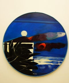 """Night landscape-Tuscany""   Oil   1989  Diameter  cm. 100"