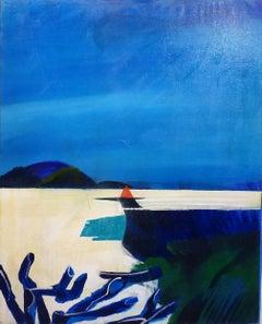 """""""Small harbor """"   Oil   1989   cm. 80 x 100 Blue,sea,Sail boat,"""