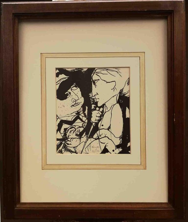 Signed Farulli Figurative Abstract Lithograph 1974 - Print by Fernando FARULLI