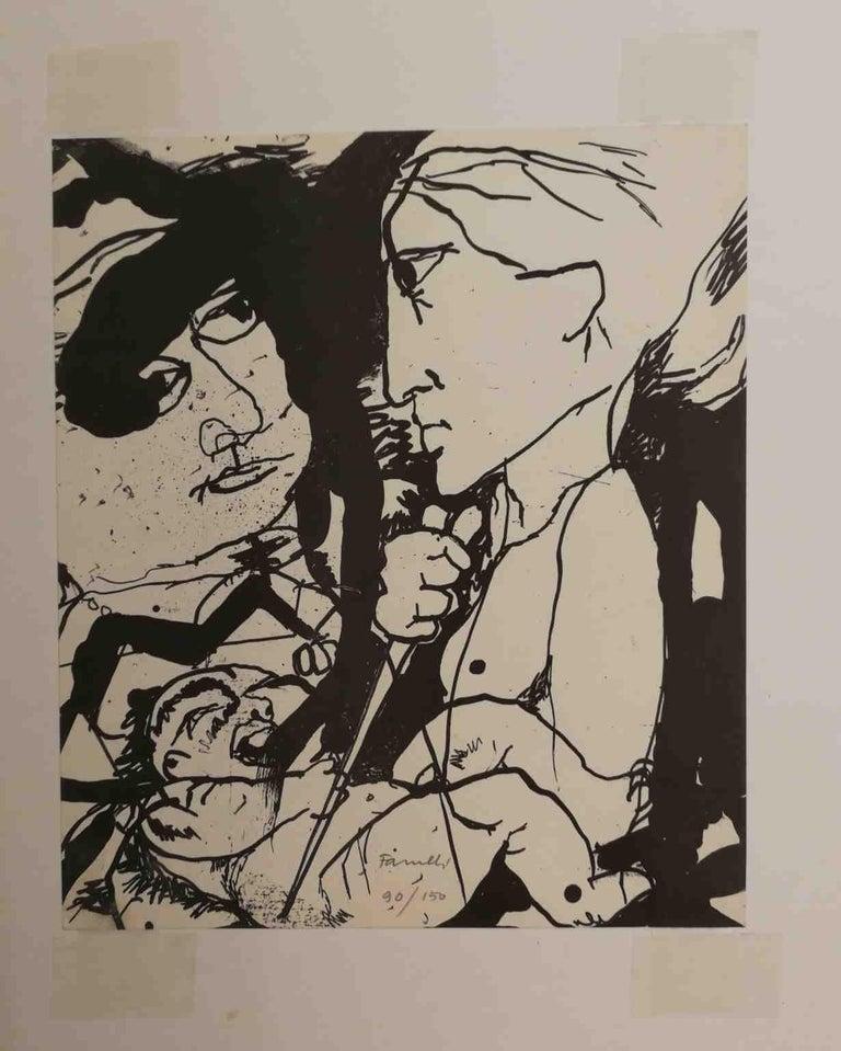 Signed Farulli Figurative Abstract Lithograph 1974 - Post-War Print by Fernando FARULLI