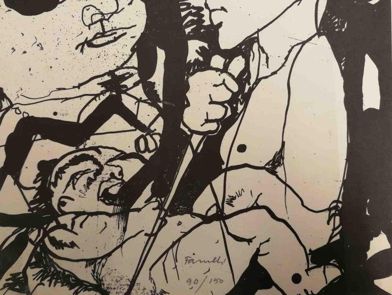 Signed Farulli Figurative Abstract Lithograph 1974 - Brown Figurative Print by Fernando FARULLI