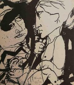 Signed Farulli Figurative Abstract Lithograph 1974