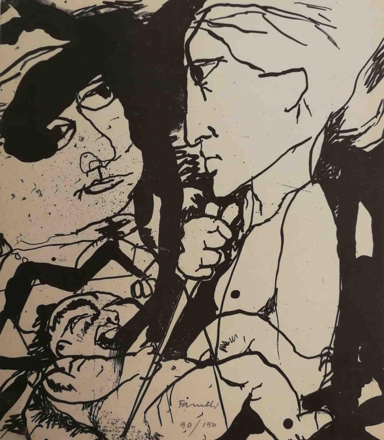 Fernando FARULLI Figurative Print - Signed Farulli Figurative Abstract Lithograph 1974