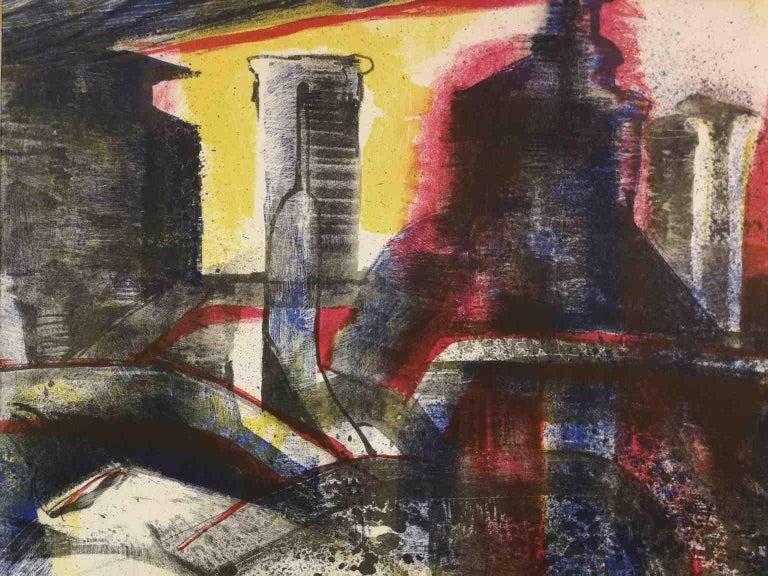 Fernando FARULLI Abstract Print - Signed F Farulli Lithograph 20th century