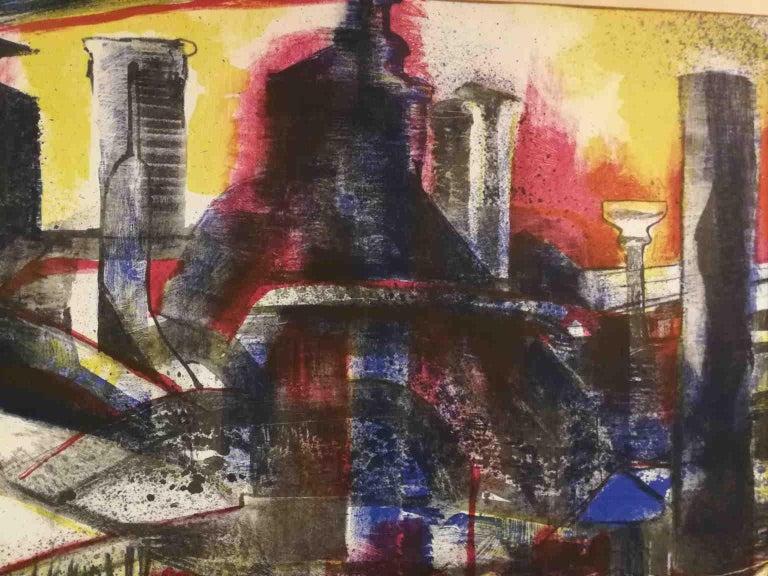 Signed F Farulli Lithograph 20th century - Black Abstract Print by Fernando FARULLI