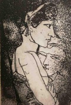 Fernando Farulli, Lovers, 1964, etching, signed
