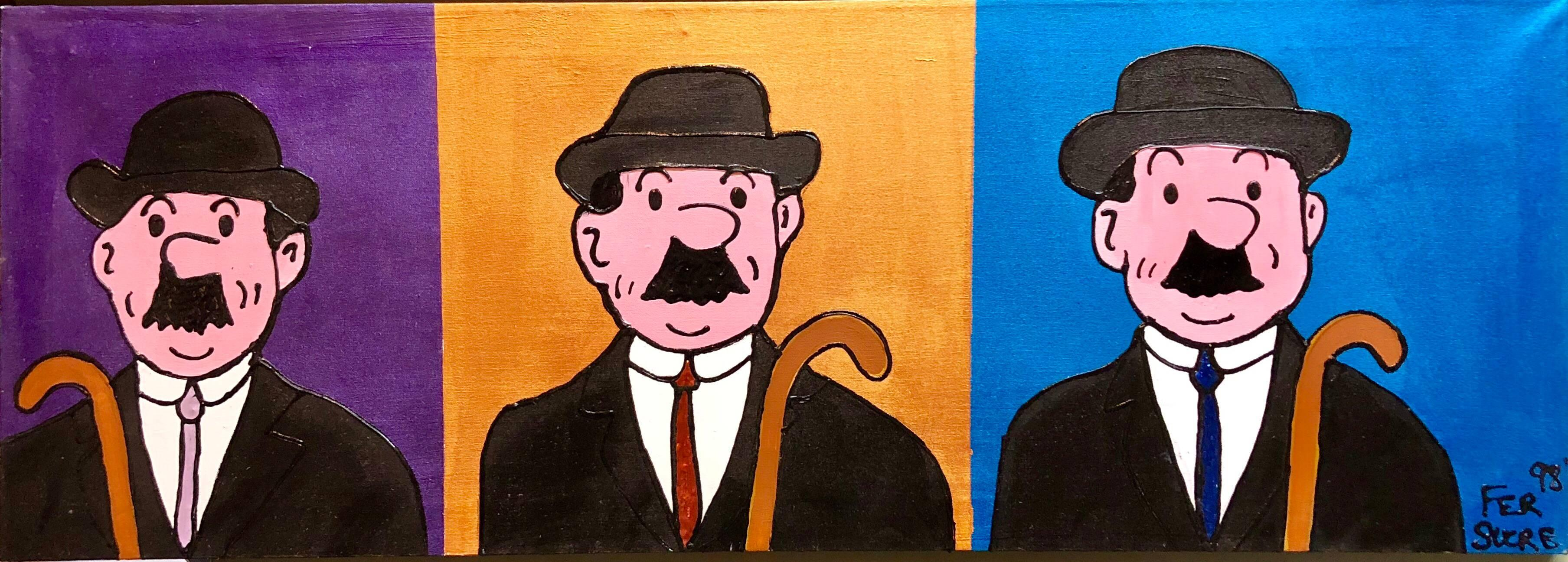 Pop Art Acrylic Painting 'Detectives' from the Tintin Comic books