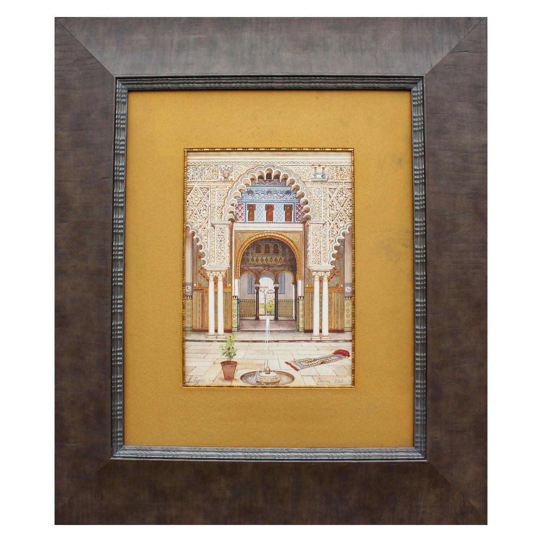 """Fernando Liger Hidalgo (Spanish, 1880-1945) Orientalist Watercolor """"The Alcazar"""""""
