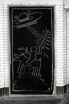 Keith Haring Subway Art photo c.1981 (Keith Haring subway drawings)
