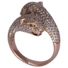 Ferocious Rose Gold and Diamond Big Cat Bypass Ring