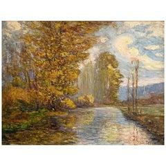 "Feron Julien Hippolyte '1864-1944' ""Edge of a river in Andelys"""