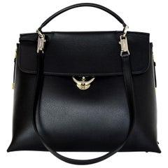 """Ferragamo Black Calfskin Leather """"Jet Set"""" Top Handle Tote Bag W/ Shoulder Strap"""