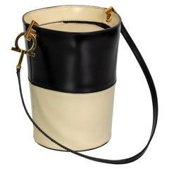 Ferragamo Black Creme Leather Bucket Bag, 1990s
