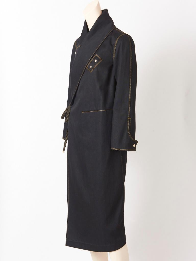 Ferragamo Black Denim Coat with Topstitching Detail In Good Condition For Sale In New York, NY