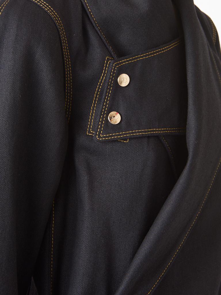 Women's Ferragamo Black Denim Coat with Topstitching Detail For Sale