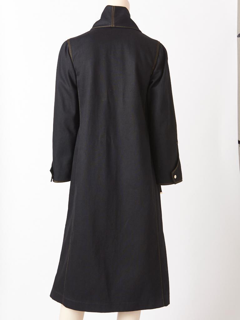 Ferragamo Black Denim Coat with Topstitching Detail For Sale 1