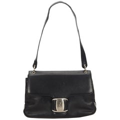 Ferragamo Black Leather Vara Shoulder Bag