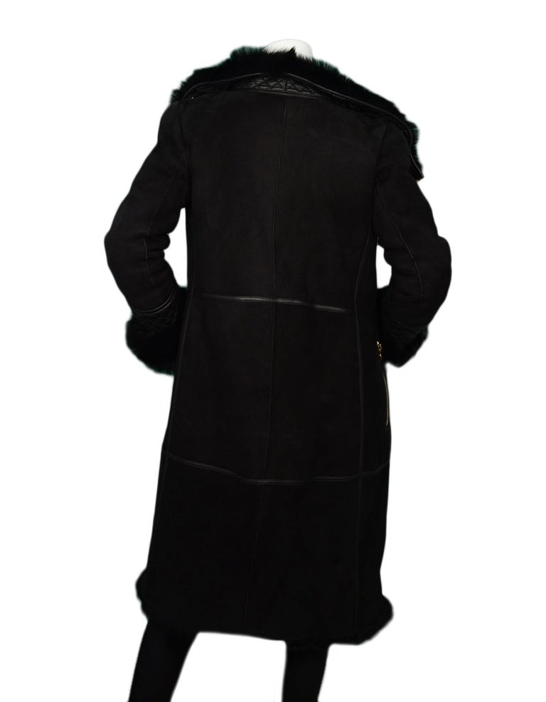 Ferragamo Black Shearling Coat W/ Quilted Leather & Fur Trim Sz US2 In Excellent Condition For Sale In New York, NY