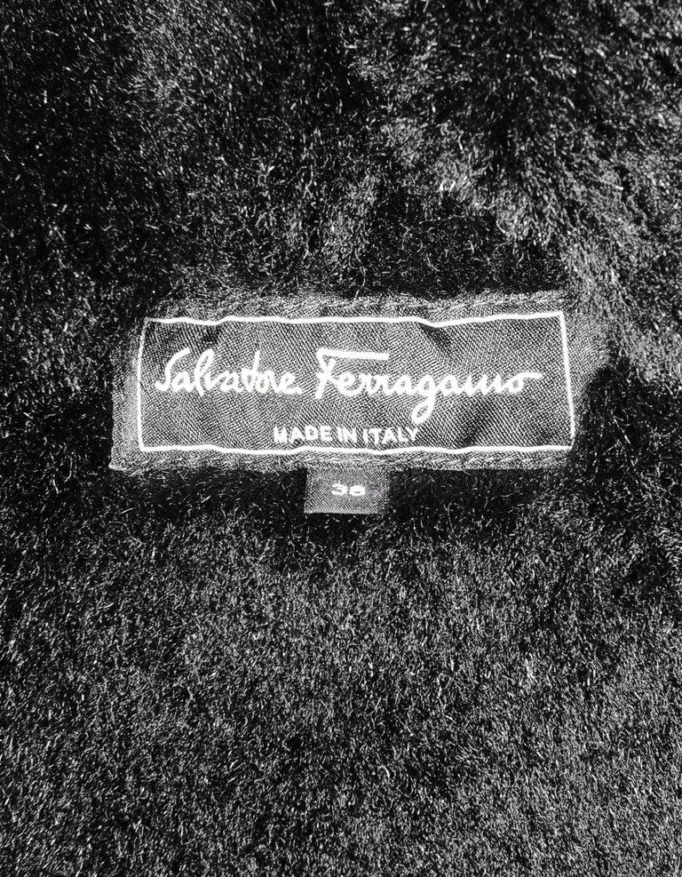 Women's Ferragamo Black Shearling Coat W/ Quilted Leather & Fur Trim Sz US2 For Sale