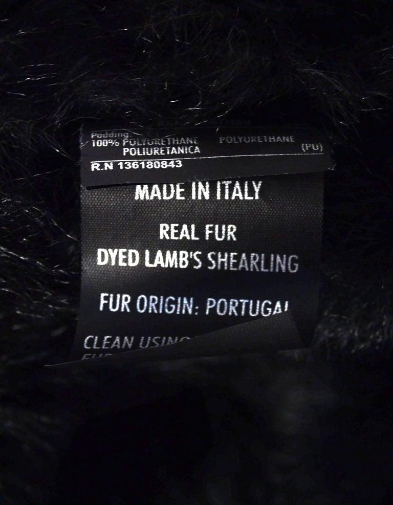 Ferragamo Black Shearling Coat W/ Quilted Leather & Fur Trim Sz US2 For Sale 1