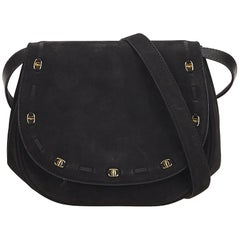 Ferragamo Black Suede Crossbody Bag
