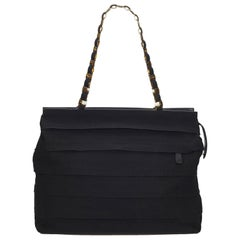 Ferragamo Black Tiered Grosgrain Chain Tote