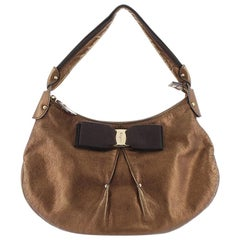 Ferragamo Brown Metallic Leather Vara Shoulder Bag