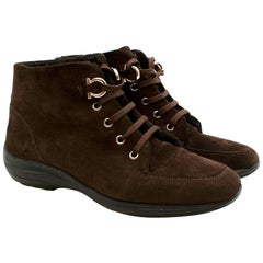 Ferragamo Brown Suede Shearling Lined Desert Boots - Size US 7.5