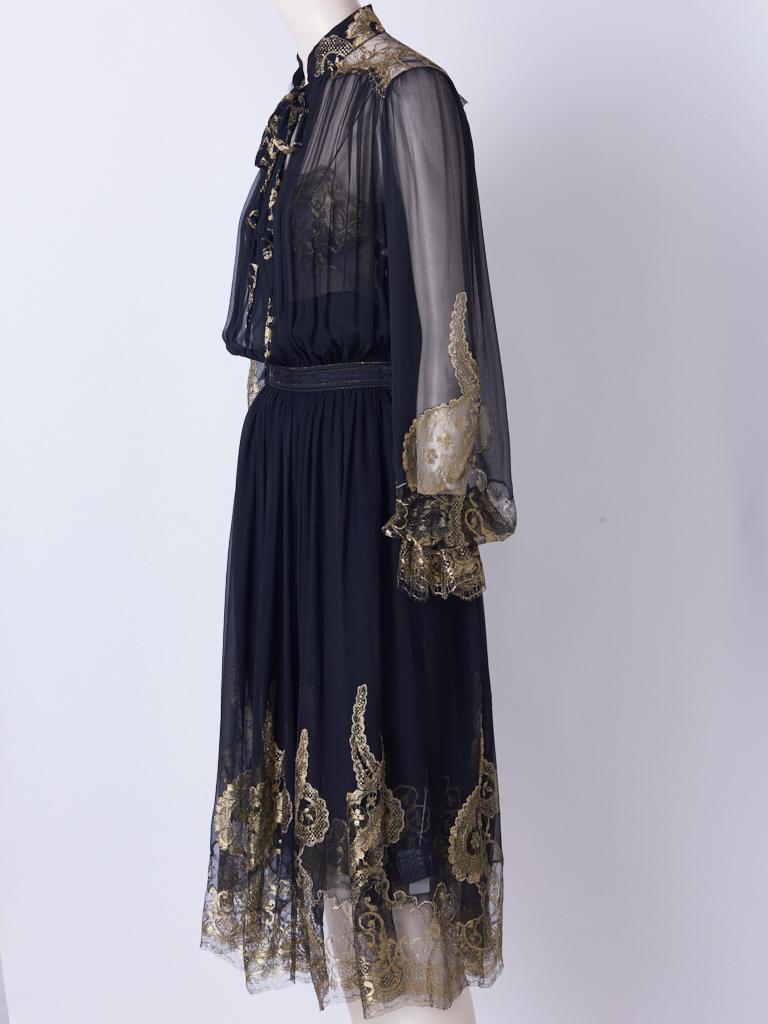 Black Ferragamo Chiffon Peasant Dress With Gold Lace Detail For Sale