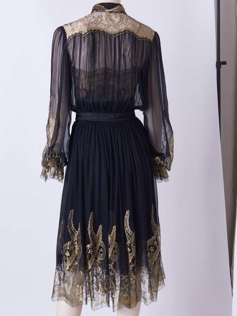 Ferragamo Chiffon Peasant Dress With Gold Lace Detail In Good Condition For Sale In New York, NY