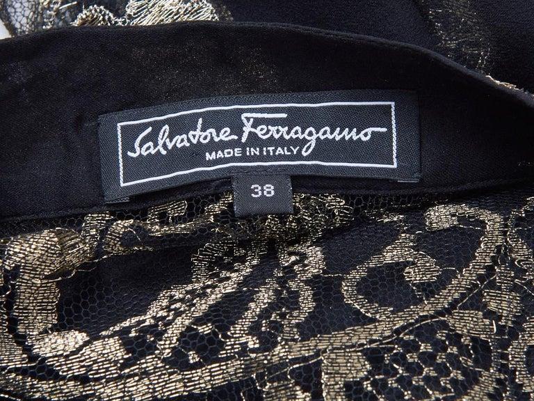 Women's Ferragamo Chiffon Peasant Dress With Gold Lace Detail For Sale