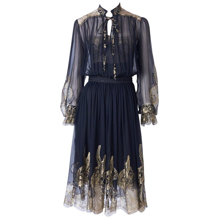 Ferragamo Chiffon Peasant Dress With Gold Lace Detail For Sale